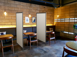 Protable hygienic partitions by Altro in a restaurant