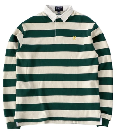 Vic Feather Stripe Rugby Polo / Green / Cream