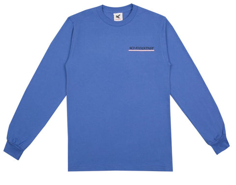 Sci-Fi Fantasy Industrial Long Sleeve Tee / Flo Blue