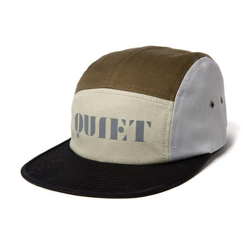 The Quiet Life Stencil 5 Panel Camper Hat / Black / Tan / Army