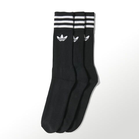 Adidas Solid Crew Socks 3 PK / Black / White