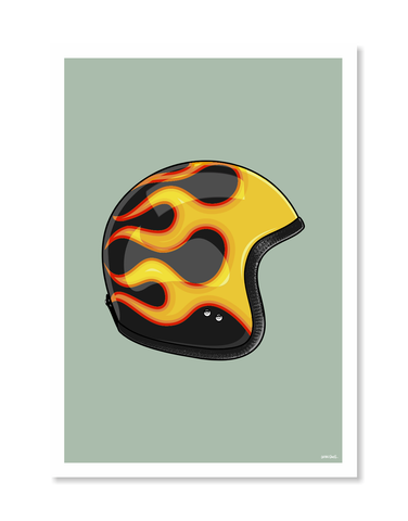 Flames Helmet Print by Glenn Smith / A3