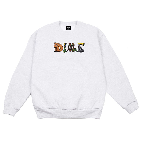 Dime Zoo Embroidered Crew / Ash
