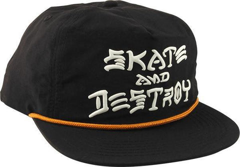 Thrasher Skate & Destroy Rope Hat / Black
