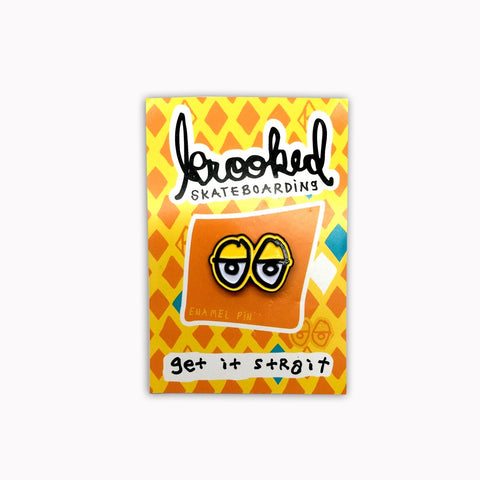 Krooked Lapel Eyes Pin / Yellow
