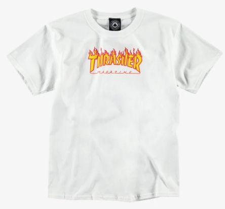 Thrasher Flame Youth Tee / White