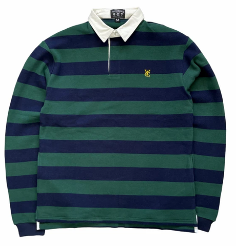 Vic Feather Stripe Rugby Polo / Navy / Forest Green