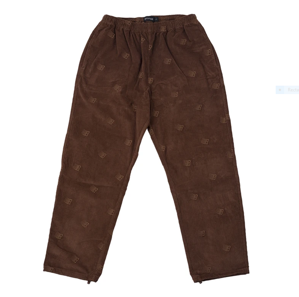 Bronze 56k All-Over Embroidered Corduroy Pants / Brown