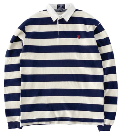 Vic Feather Stripe Rugby Polo / Navy / Cream
