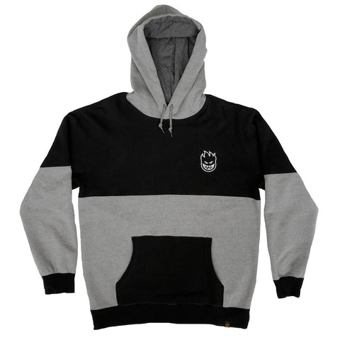Spitfire Stock Bighead EMB Hoodie / Black / Gunmetal Heather