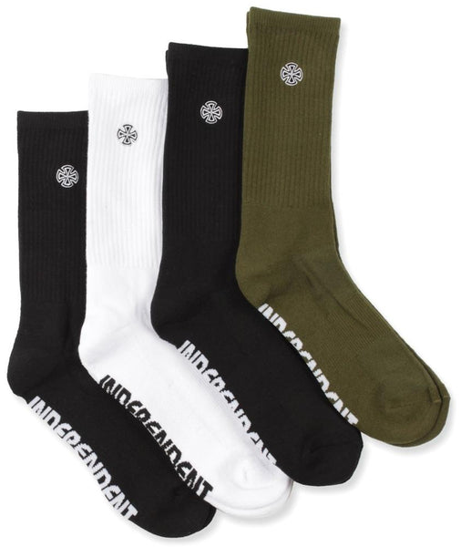 Independent Cross Embroidery Socks 4 Pack / Assorted Colours