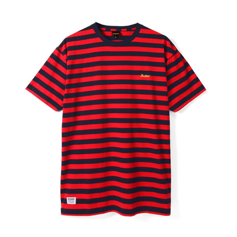 Butter Goods Cycle Stripe Tee / Navy / Red