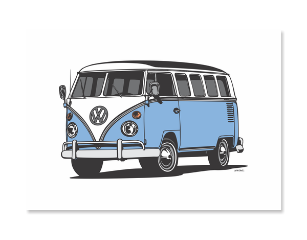 VW Kombi Van Blue Print by Glenn Smith / A3