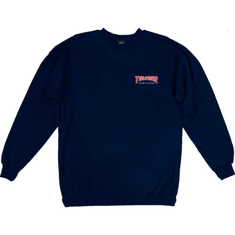 Thrasher Embroidered Outlined Crew Sweatshirt / Navy