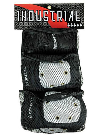 Industrial Beginner Skate Pads / Black / White caps