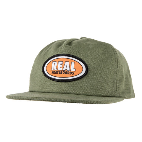 Real Oval Patch Snapback Hat / Olive