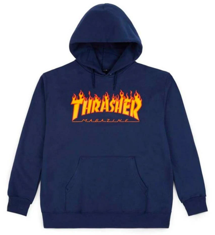 Thrasher Flame Youth Hoodie / Navy