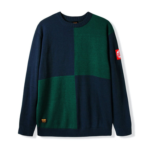 Butter Goods Chess Knitted Sweater / Navy / Forest