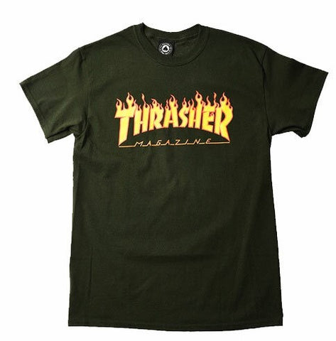 Thrasher Flame Tee / Forrest Green