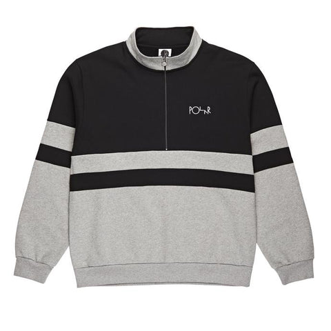 Polar Striped Fleece Pullover / Black / Heather Grey