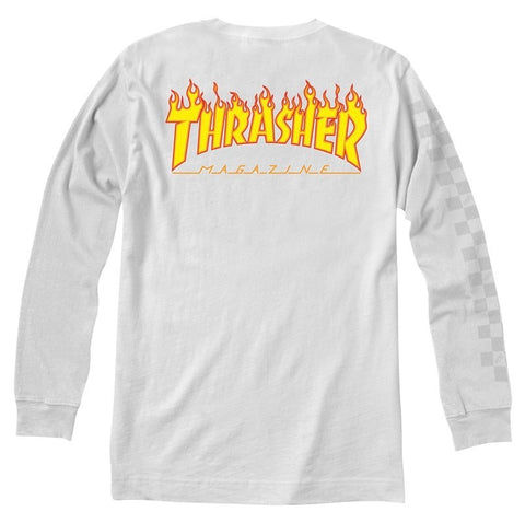 Vans x Thrasher Checker Long Sleeve Tee / White