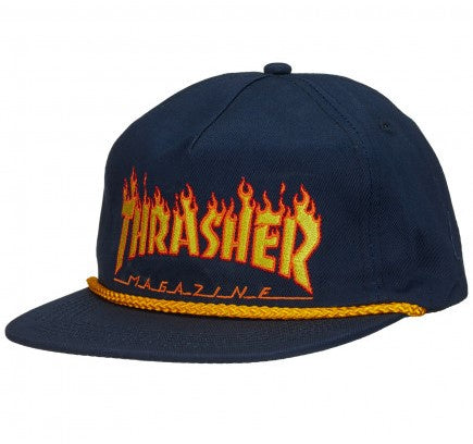 Thrasher Flame Rope Snapback Hat / Navy
