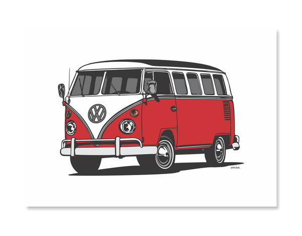VW Kombi Van Red Print by Glenn Smith - A3