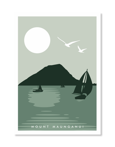 Mount Maunganui Stamp Print A3 / Green