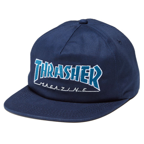 Thrasher Outlined Snapback Hat / Navy / Grey