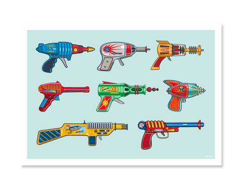 Ray Guns Set Art Print by Glenn Smith