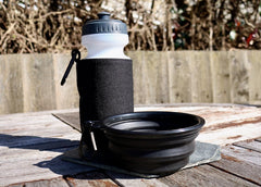 water bottle holder and collapsible water bowl