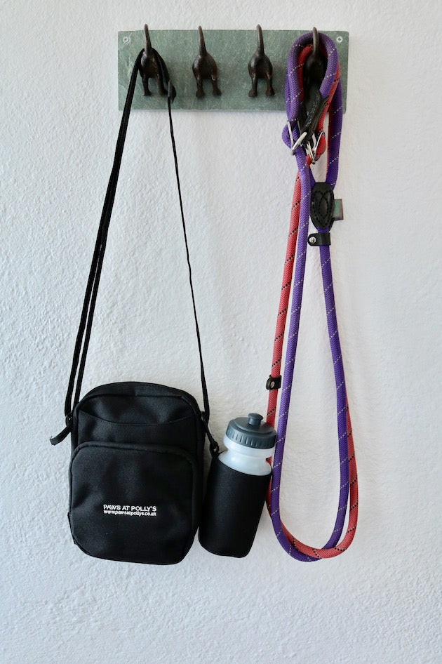 Black dog walking bag