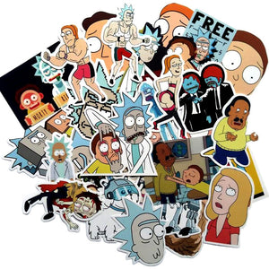 35 autocollants stickers Rick et Morty