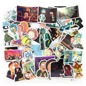 50 autocollants stickers Rick et Morty