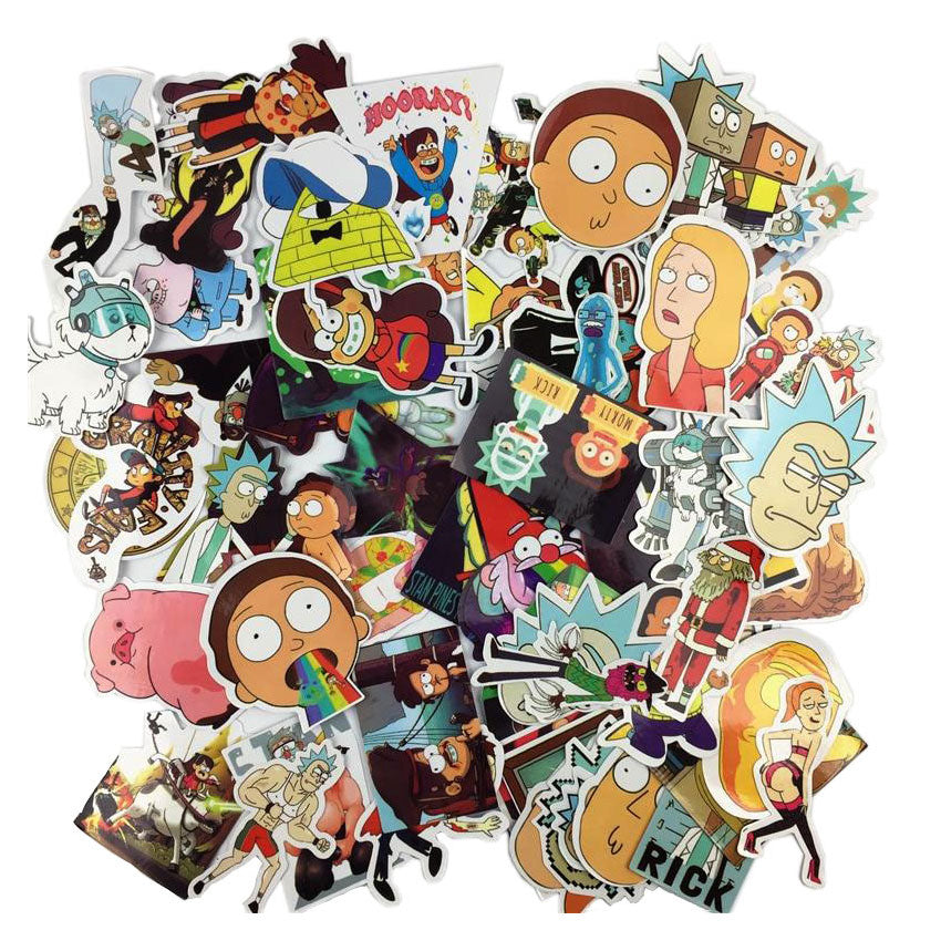 60 autocollants stickers Rick et Morty