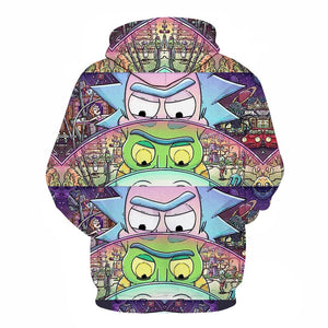 Sweat Rick mini univers batterie dos (Rick et Morty)