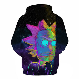 Sweat Rick couleurs phosphorescentes dos (Rick et Morty)