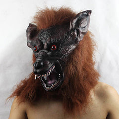 Scary Werewolf mask with black skin, brown hair and pointy ears
