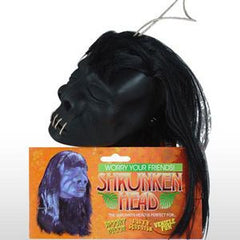 Fake Shrunken Head with black hair and stitched up mouth