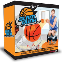 Toilet Basketball set with small hoop, backboard and orange balls for shooting.