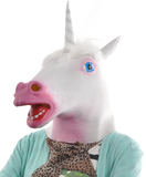 Unicorn Mask with white horn and pink mouth