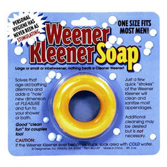 Weener Kleener soap - a round ring of soap that fits snugly around your old fella for a good clean!