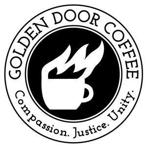 golden door coffee black and white logo sticker