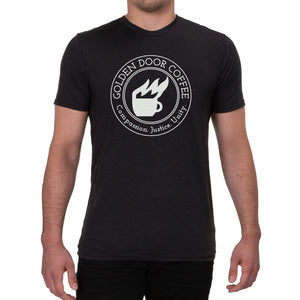 golden door coffee flagship t shirt black front