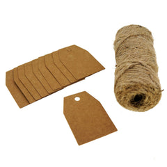 Kraft Paper Gift / Price Tags with Jute Twine for Gift Wrapping Packaging, Set of 50