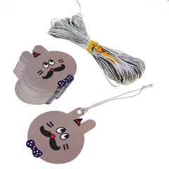 Cute Cartoon Rabbit Tags with Silver String for Party Gift Wrapping Packaging, Pack of 48