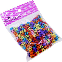 Alphabet Acrylic Beads, Mixed Letters, Cube, Mixed Color, 6x6x6mm, Hole: 3mm, about 330pcs/50g
