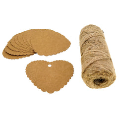 Heart Kraft Paper Gift / Price Tags with Jute Twine for Gift Wrapping Packaging, Set of 50