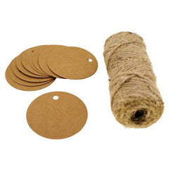 Round Kraft Paper Gift / Price Tags with Jute Twine for Gift Wrapping Packaging, Set of 50