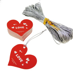 Big Red Love Heart Gift Tag with Silver String for Shop Wrapping Packaging , Pack of 48